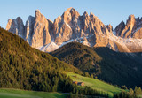 Mountain valley in the Italy alps. Beautiful natural sunset in the summer time