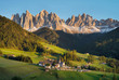 Quadro Mountain valley in the Italy alps. Beautiful natural sunset in the summer time