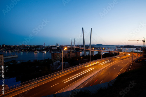 Keuken foto achterwand Nacht snelweg Panorama of Vladivostok at sunset, Far East Russia. Golden bridge.