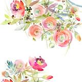 Rose border watercolor illustration. - 181335530