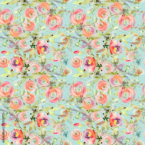 Flower seamless pattern. Roses flower background - 181335573