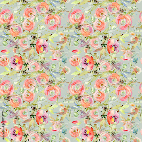 Flower seamless pattern. Roses flower background - 181335576