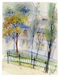 cityscape, houses, watercolor