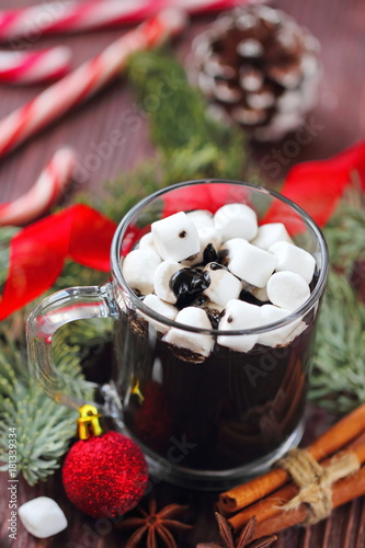 Foto op Canvas Chocolade Cup of hot chocolate with marshmallows on a wooden table