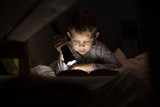 Portrait of cute little boy reading in bed with flashlight in dark room, enjoying fairytales - 181341154