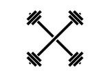 Line Art Simple Barbell GYM Cross Illustration Logo Silhouette