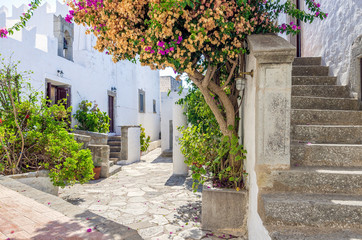 Traditional  architecture in the chora of Patmos island, Dodecanese, Greece
