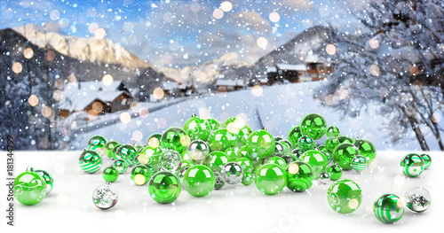 Green and white christmas baubles 3D rendering