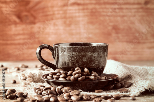 Poster Coffee on piece of sackcloth