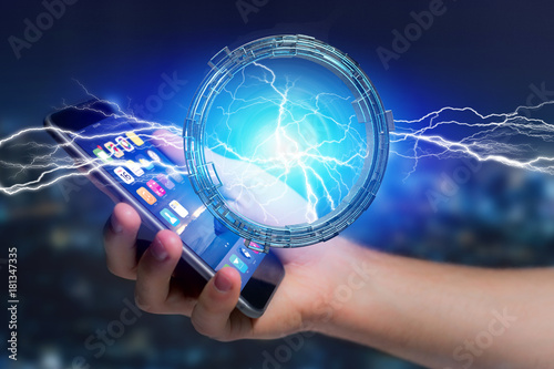 Papiers peints UFO Thunder lighting bolt in a science fiction wheel interface - 3d rendering