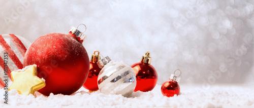 Christmas background with christmas balls, gifts and decoration - 181347353