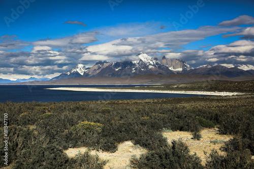 Fotobehang Grijze traf. Torres del Paine