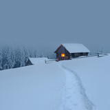 Fantastic landscape with snowy house - 181350918