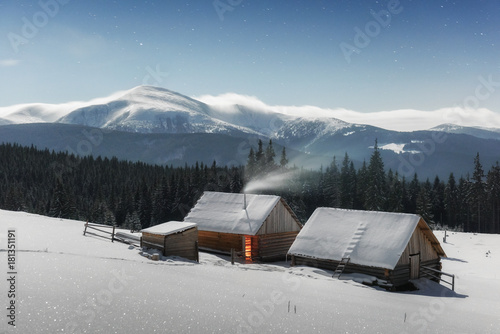 Plexiglas Winter Fantastic landscape with snowy house