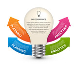 Abstract infographic with light bulb. Infographics for business presentations or information banner. - 181354194