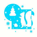 Christmas card with squirrel and fir-tree,vector