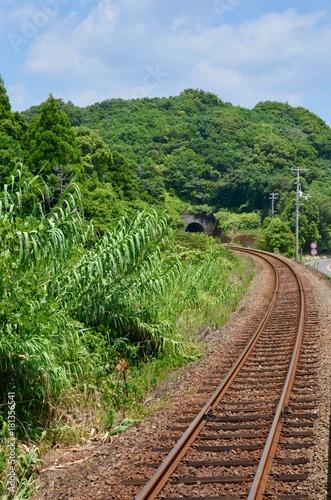 Fotobehang Spoorlijn 日本 高知県 高知市 桂浜 坂本龍馬 Japan Shikoku Kochi city Katsura hama sakamoto ryoma