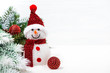 christmas snowman and christmas tree on white background