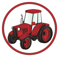 tractor, car, transport, farm, illustration, cartoon, agriculture, red, road, sign
