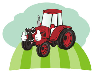 tractor, car, transport, farm, illustration, cartoon, agriculture, face, green, grass