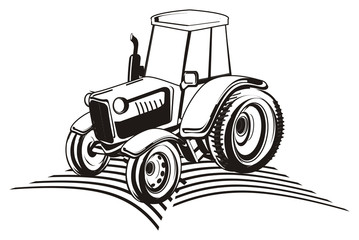 tractor, car, transport, farm, illustration, cartoon, agriculture, black, black and white, not colored