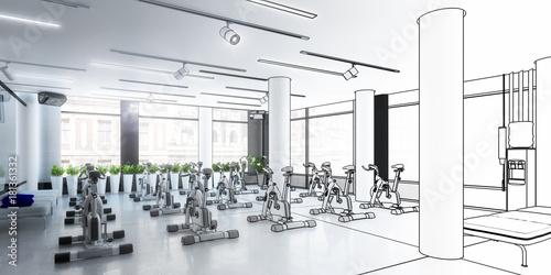 Fototapeta Ergometer im Fitness-Zentrum, Entwurf