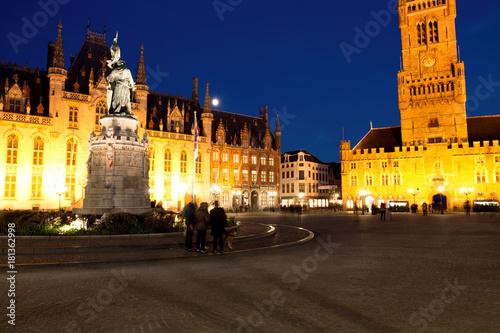 Aluminium Brugge Grote Markt Square in Medieval City Brugge at Dusk, Belgium