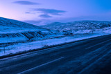 Typically winter  view at dawn from The Ring Road (Route 1) of Northeast of Iceland, near Egilsstadir. - 181364967
