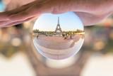 The Eiffel tower seen through a crystal ball, Paris France - 181368120