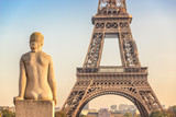 Woman stone statue in the Trocadero garden, Eiffel tower in the background, Paris France - 181368161