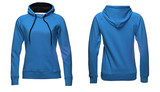 Blank sweatshirt template, front and back view, isolated on white background with clipping path, blue hoodie mock-up. clothes hoody sweater design presentation for print - 181370182