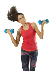 Fitness woman with dumbbells solated