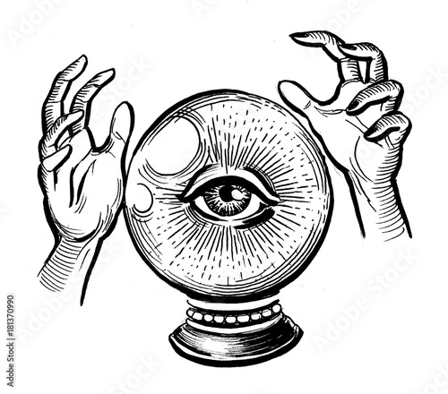 Crystal Ball With An Eye And Hands Black And White Ink Drawing