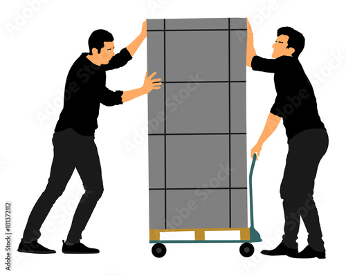 Hard workers pushing wheelbarrow and carry big box vector illustration isolated on white background. Delivery man moving package  by cart. Service moving transport. Warehouse job activity.