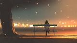 back view of young woman sitting on a bench with bokeh light, digital art style, illustration painting - 181376777