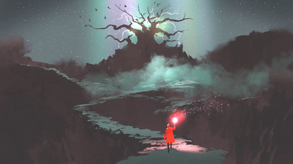 the girl in red hood with magic torch walking on mountain path leading into the fantasy tree, digital art style, illustration painting © grandfailure