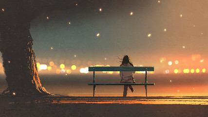 back view of young woman sitting on a bench with bokeh light, digital art style, illustration painting © grandfailure