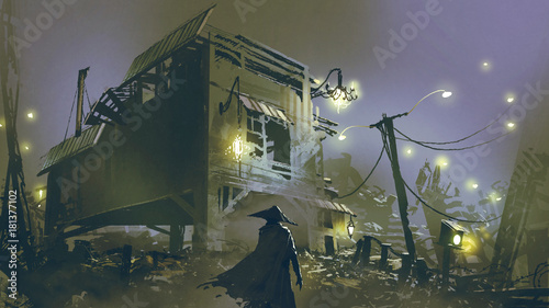 Aluminium Lavendel night scene of a man looking at the old house with junk all around, digital art style, illustration painting