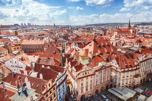 Tuinposter Praag Red roofs in Prague