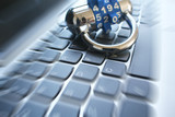 Cyber Security With Lock On Computer Keyboard With Zoom Burst High Quality  - 181380963