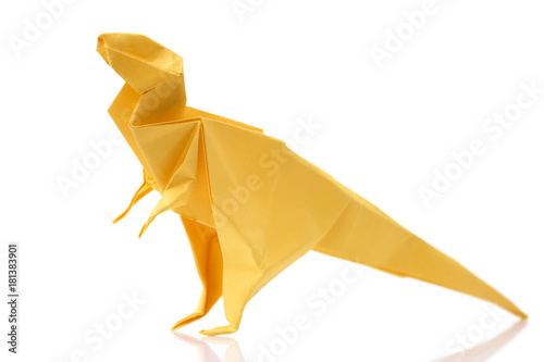Plagát Yellow tyrannosaurus on white background