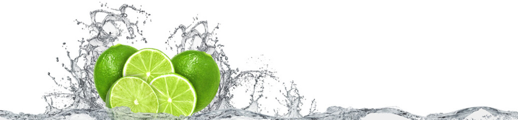 Lime and water splash on white background © Dawid K
