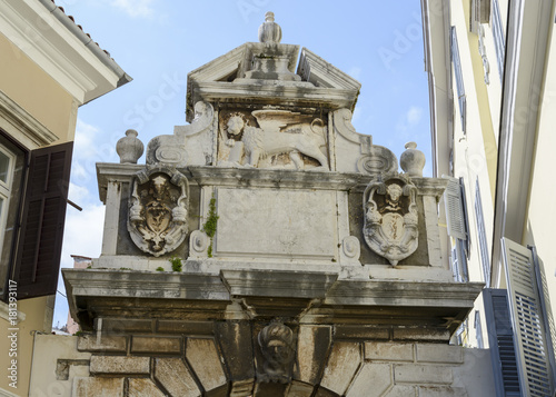 Fototapeta Top of a Old stone entrance in the Town of Rovinj , Croatia