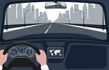 view of the road from the car interior vector illustration. - 181397918