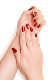 Woman hands with red nail polish isolated with clipping path - 181398355