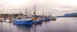 Panoramic view of Ladysmith marina, taken in Vancouver Island, BC, Canada