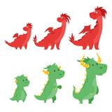 set of cute dragons