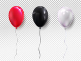 Fototapety Set colors helium balloon. Birthday balloon red, black, white, flying for party and celebrations. For your design and business. Vector illustration. Isolated on transparent background