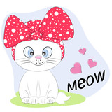 A beautiful Cute kitty cat in a hat with lettering Meow.