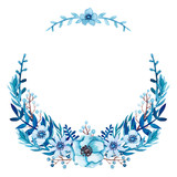Floral Wreath with Blue Flowers and Leaves - 181410375